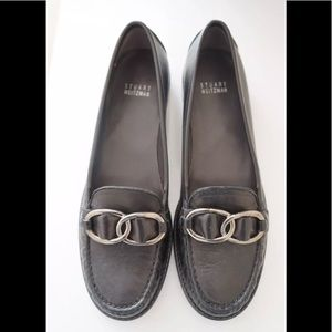 New Stuart Weitzman Black Leather Loafer Shoes 7/8